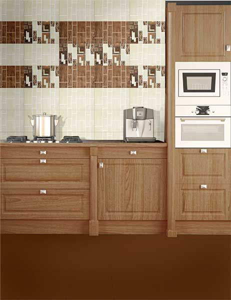 Kitchen Tiles Kajaria bricko brown, power line - 30x45 cm, wall tiles, glossy