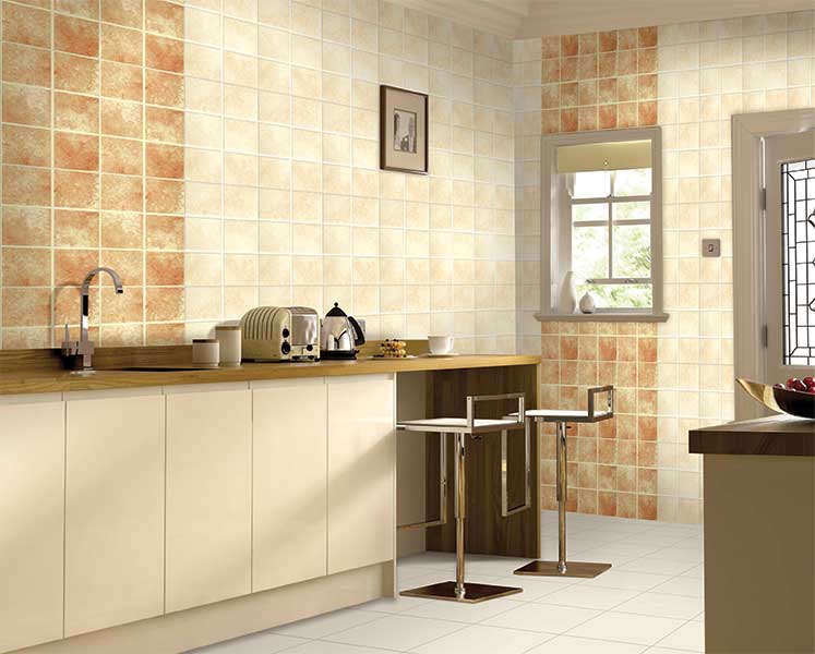 Kitchen Tiles Kajaria tuscano crema, power line - 30x45 cm, wall tiles, glossy