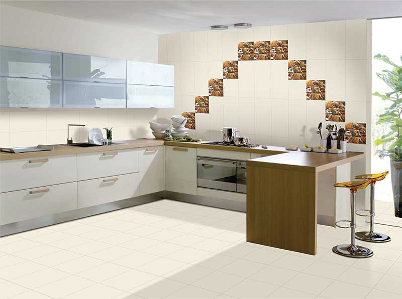 Kitchen Tiles Kajaria crema, serie exquisite - 30x60 cm, wall tiles, glossy