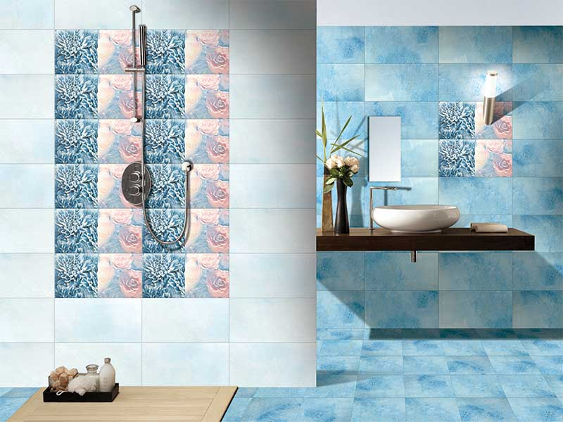 Smoke azul digital 30x30 cm floor tiles satin matt Kajaria bathroom tiles design in india
