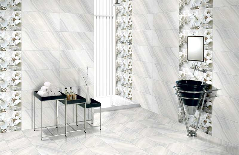Kitchen Tiles Kajaria white lily highlighter, digital - 30x60 cm, wall tiles, glossy