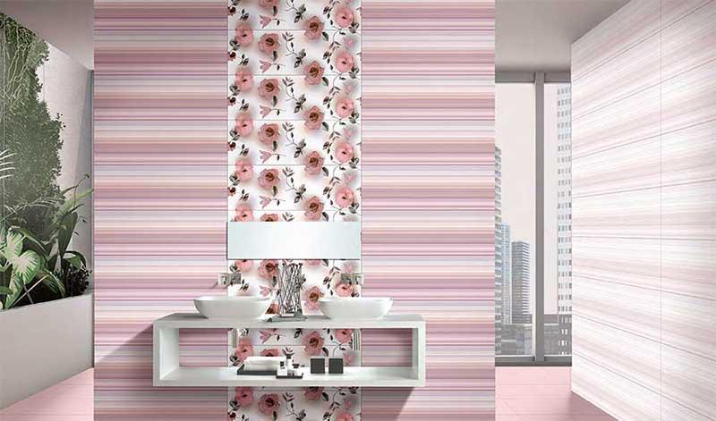 Bathroom Tiles Kajaria toronto pink, power line - 30x30 cm, floor tiles, satin matt