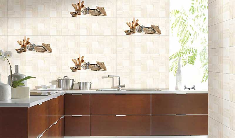 Kitchen Tiles Kajaria cuba decor, digital - 25x75 cm, wall tiles, glossy