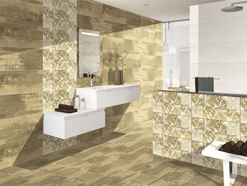Bahamas bronce storm 40x80 cm wall tiles glossy for Bathroom designs kajaria