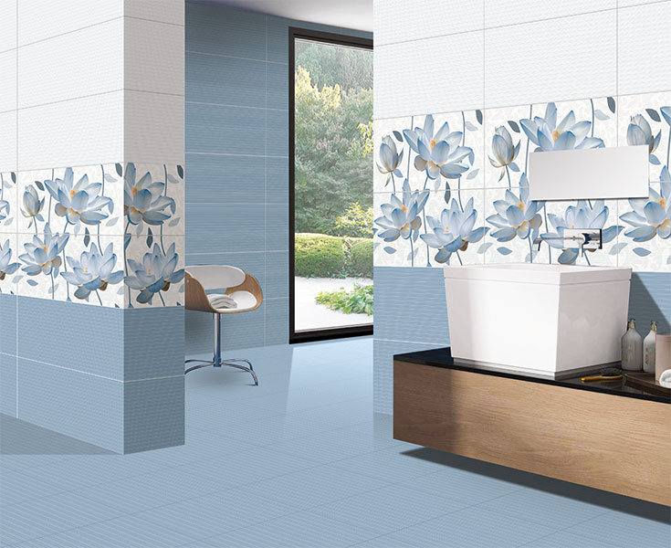 Florita Azul Digital 40x40 Cm Floor Tiles Satin Matt