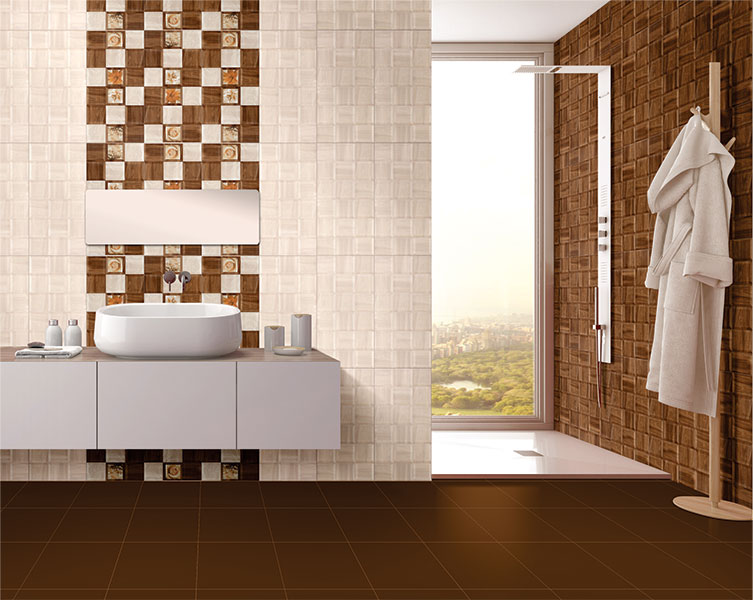 Toronto brown power line 30x30 cm floor tiles satin matt for Bathroom designs kajaria