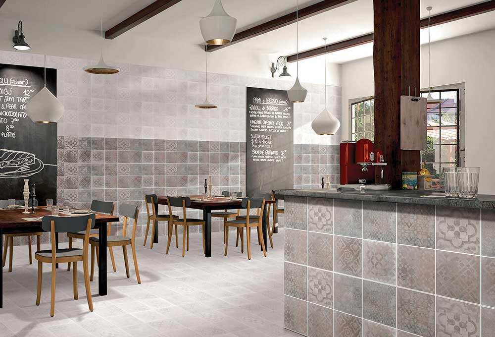 White ceramic wall tiles